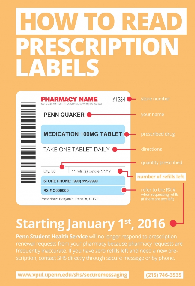 Student health service at the university of pennsylvania for How to read medication labels